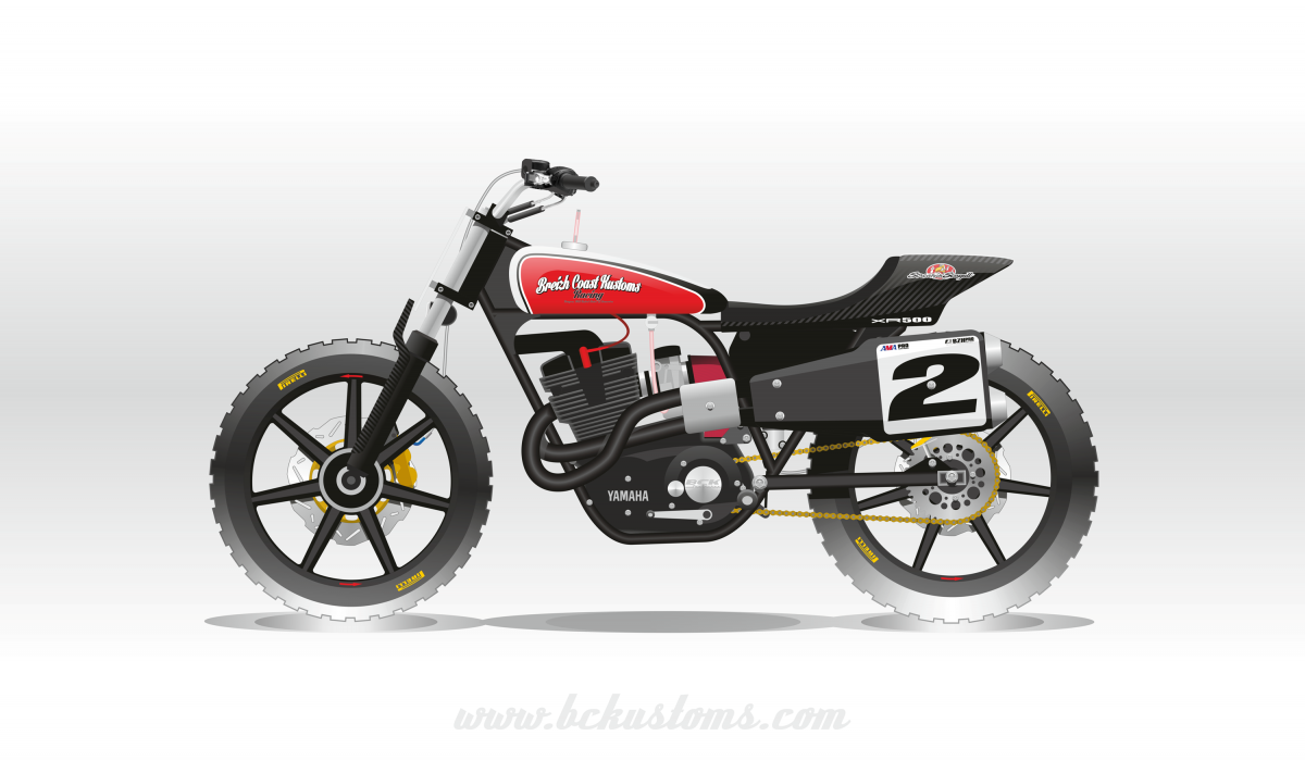 bckustoms yamaha XS500 tracker stainless guns flattrack