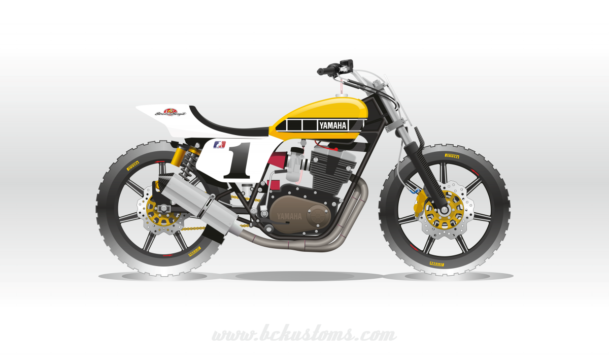 bckustoms yamaha XS500 tracker flattrack